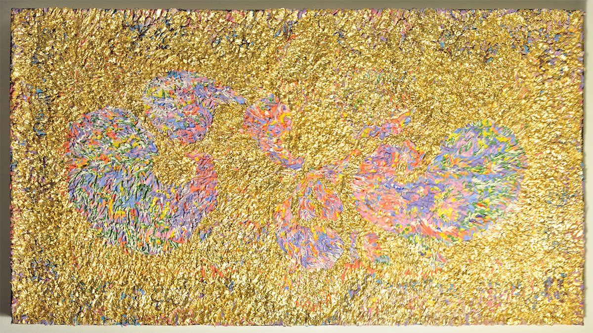 Golden Terme-  Oil , acrylic, Gold on Persian rug  150cm x 80cm 2017